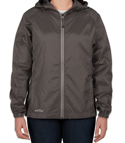 Eddie Bauer Ladies Full Zip Hooded Packable Jacket - Grey Steel