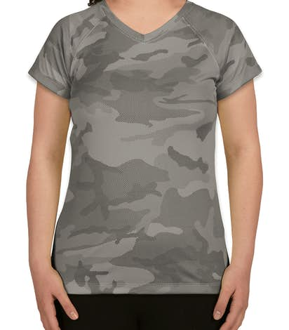 Champion Ladies Camo V-Neck Performance Shirt - Stone Grey Camo