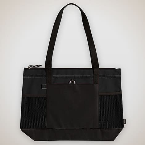 Large Multi-Pocket Zippered Tote - Black