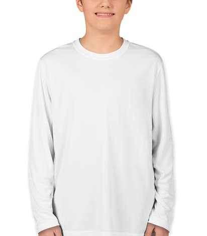 Sport-Tek Youth Competitor Long Sleeve Performance Shirt - White