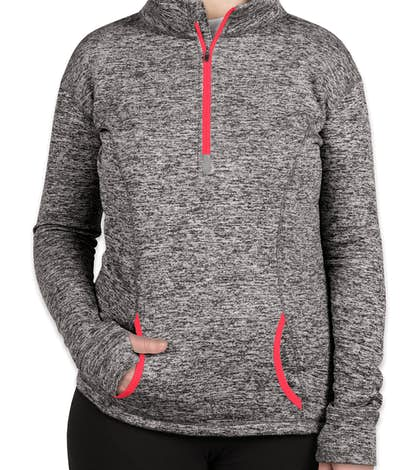 J. America Ladies Cosmic Quarter Zip Performance Pullover - Charcoal Fleck / Fire Coral