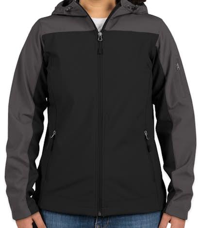 Port Authority Ladies Contrast Hooded Soft Shell Jacket - Black / Battleship Grey
