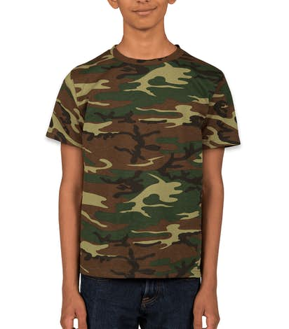 Code 5 youth camo t shirt design custom kids camouflage for Camouflage t shirt printing
