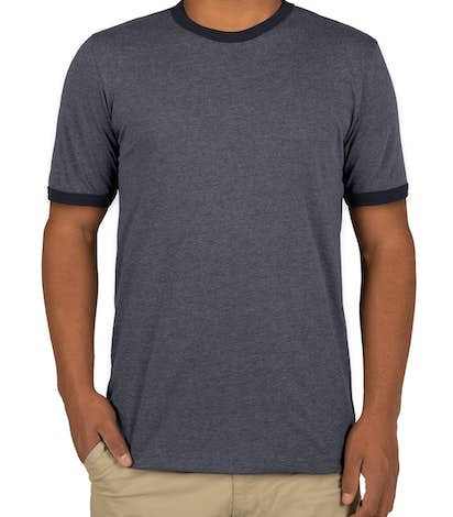 Bella + Canvas Ringer T-shirt - Heather Navy / Midnight