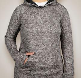 J. America Ladies Cosmic Performance Pullover Hoodie - Color: Charcoal Fleck / Black