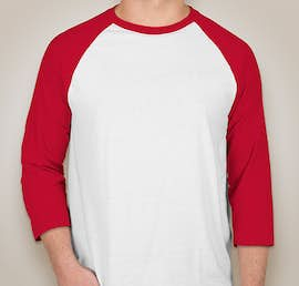 Hanes X-Temp Baseball Raglan - Color: White / Deep Red