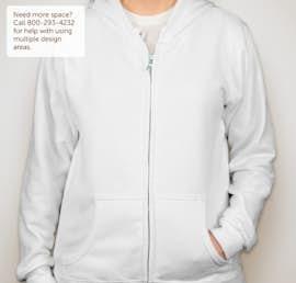 Gildan Ladies Midweight Zip Hoodie - Color: White