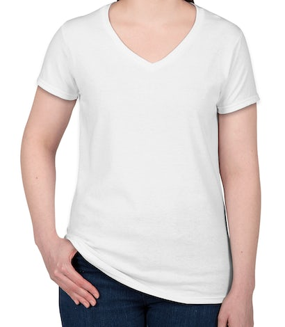 Custom gildan ladies 100 cotton v neck t shirt design for Large v neck t shirts