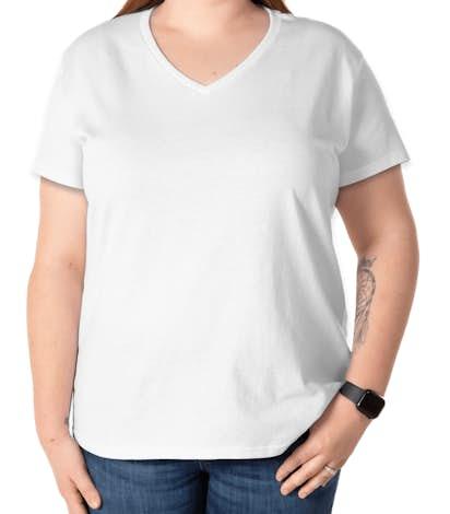 Gildan Ladies 100% Cotton V-Neck T-shirt - White