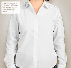 Port Authority Ladies Long Sleeve Easy Care Shirt - Color: White/Light Stone