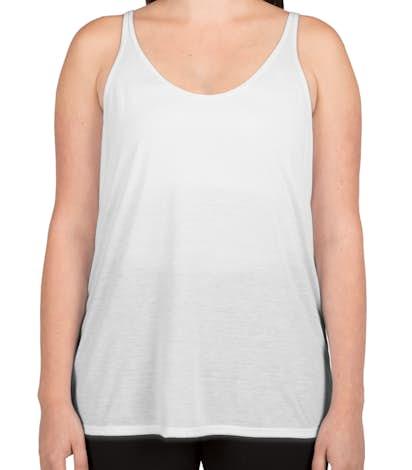 Bella Ladies Flowy Tank - White
