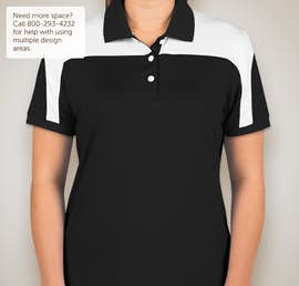 Team 365 Ladies Colorblock Performance Polo - Color: Black / White