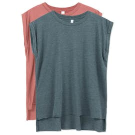Bella Ladies Flowy Rolled Cuff T-shirt