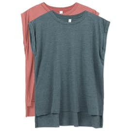 Bella + Canvas Ladies Flowy Rolled Cuff T-shirt