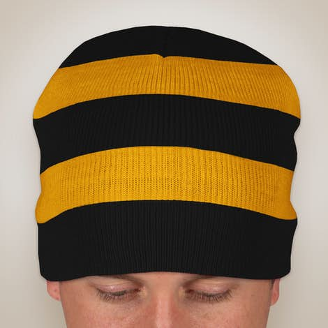 Sportsman Rugby Striped Knit Hat - Black / Gold
