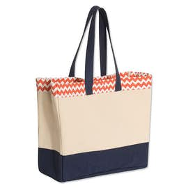Large Gusseted Patterned Top Tote
