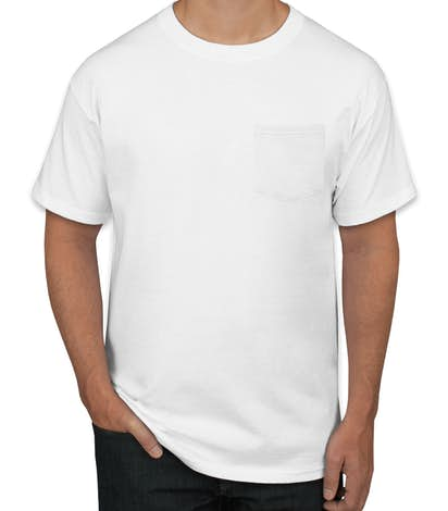 Hanes ComfortSoft® Tagless Pocket T-shirt - White