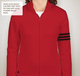 Adidas Ladies ClimaLite Full Zip Performance Sweatshirt - Color: Power Red / Black