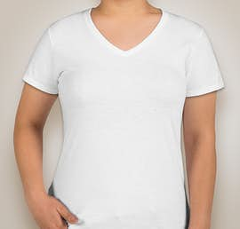 Anvil Ladies Jersey V-Neck T-shirt - Color: White