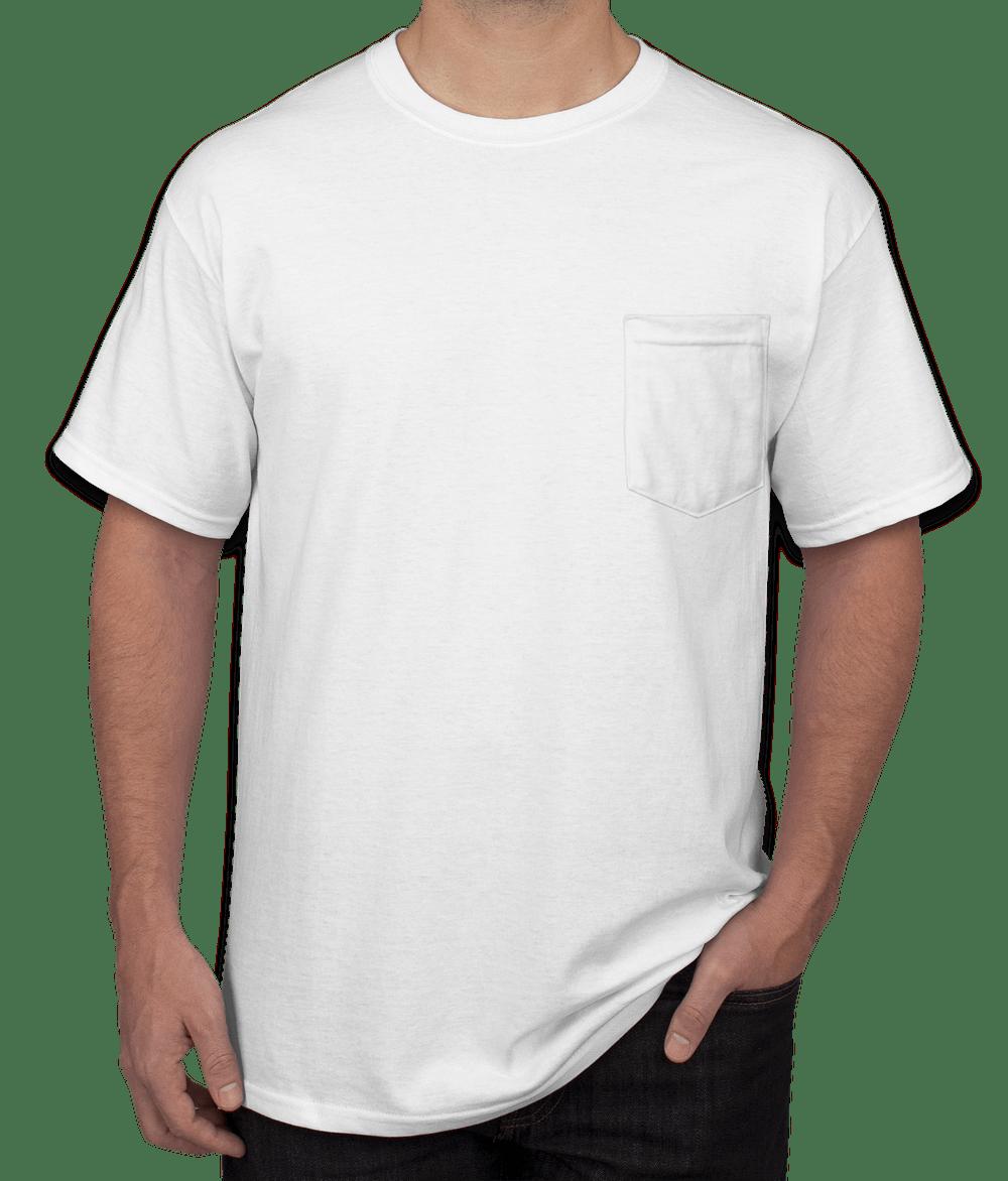 design custom printed gildan ultra cotton pocket t-shirts online
