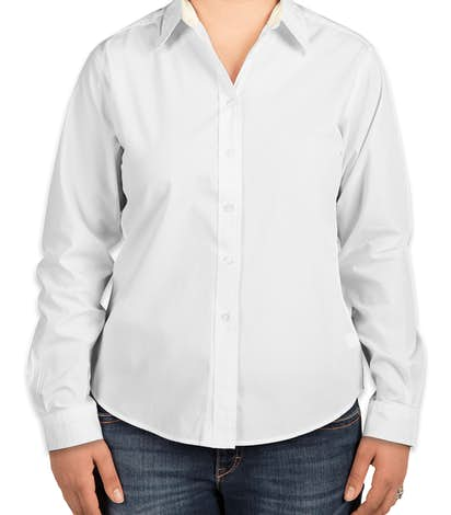 Port Authority Ladies Long Sleeve Easy Care Shirt - White/Light Stone