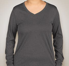 Sport-Tek Ladies Long Sleeve Heather V-Neck Performance Shirt - Color: Graphite Heather