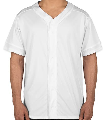 Augusta Slugger Full Button Baseball Jersey - White / White