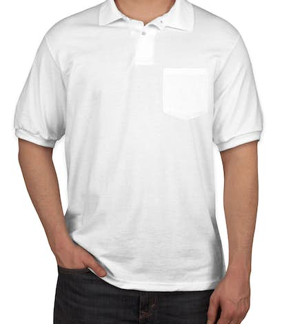 Hanes 50/50 Jersey Pocket Polo - White