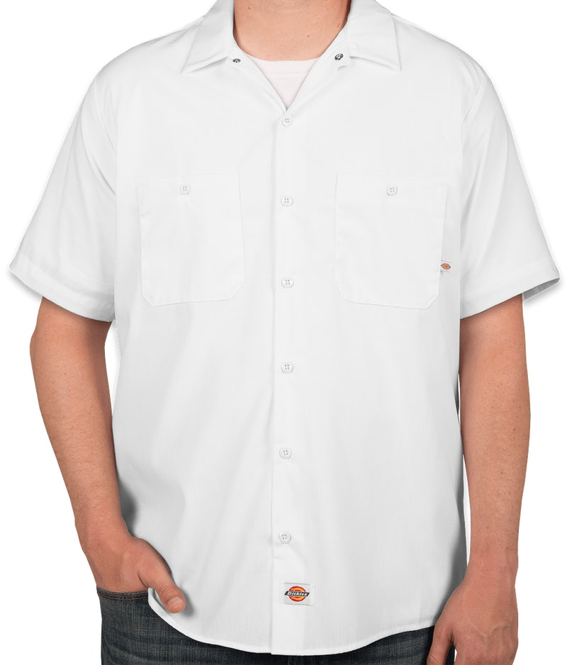 Custom dickies lightweight industrial work shirt design for Embroidered dickies work shirts