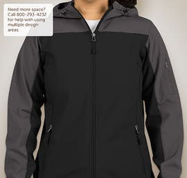 Port Authority Ladies Contrast Hooded Soft Shell Jacket - Color: Black / Battleship Grey