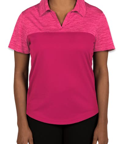 Augusta Ladies Tonal Heather Performance Polo - Power Pink