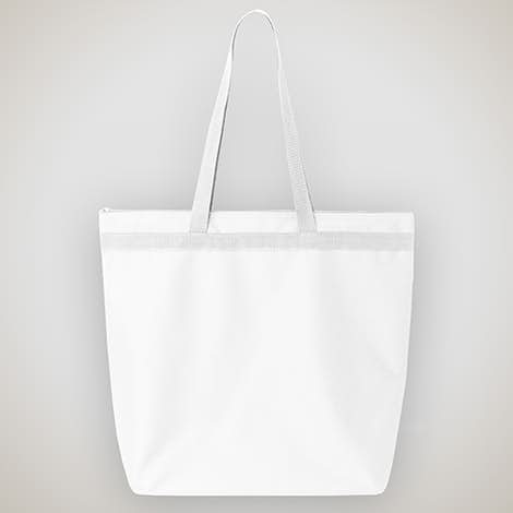 Large Recycled Poly Zippered Tote - White