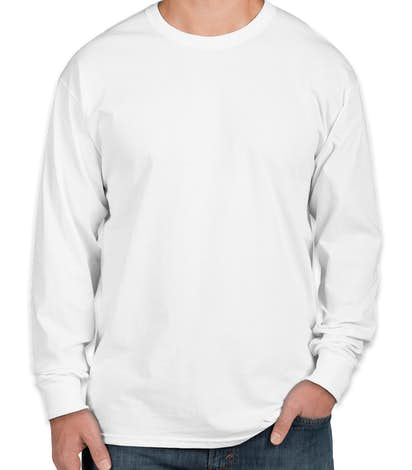 Fruit of the Loom 100% Cotton Long Sleeve T-shirt - White