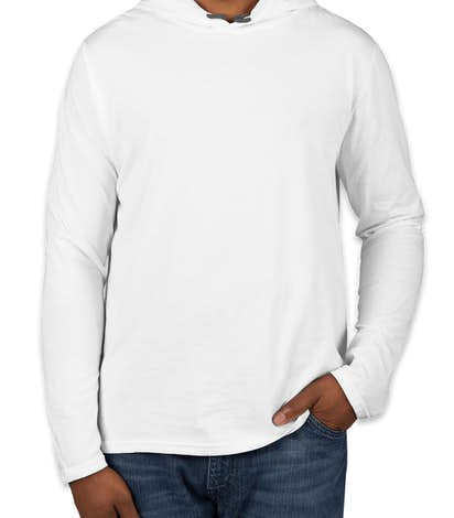 Canada - Anvil Hooded Long Sleeve T-shirt - White