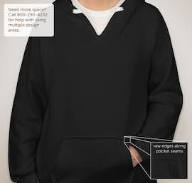 J. America Ladies V-Neck Pullover Hoodie - Color: Black