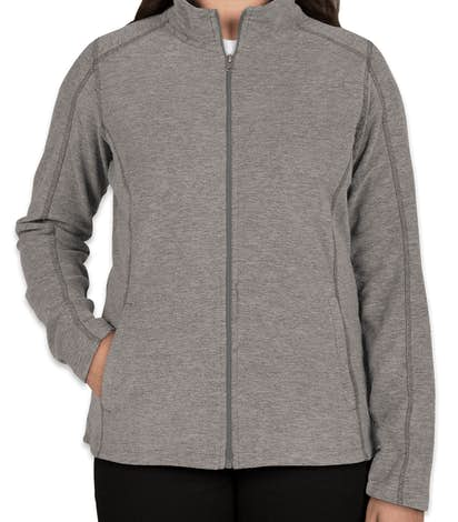Port Authority Ladies Heather Microfleece Full Zip Jacket - Pearl Grey Heather
