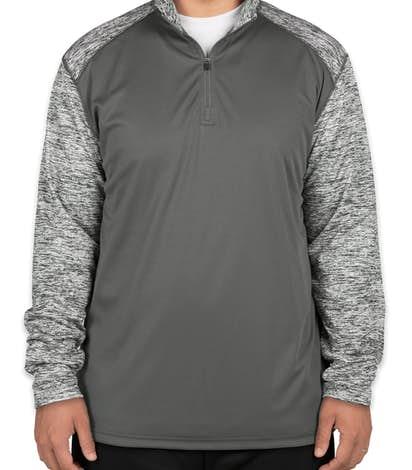 Badger Contrast Melange Quarter Zip Performance Shirt - Graphite / Graphite Blend