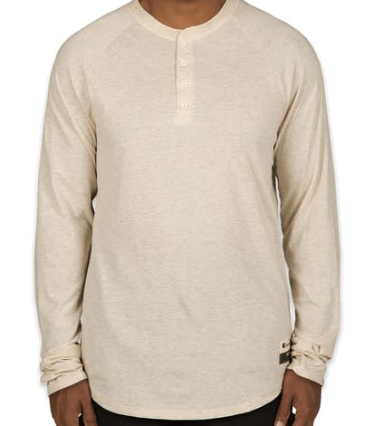 Champion Authentic Slub Long Sleeve Henley - Oatmeal Heather