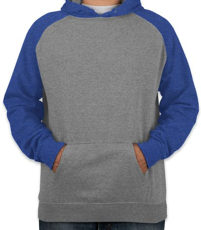 Independent Trading Heather Raglan Pullover Hoodie - Gunmetal Heather / Royal Heather