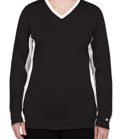 Badger Ladies Colorblock Long Sleeve Volleyball Jersey - Black / White