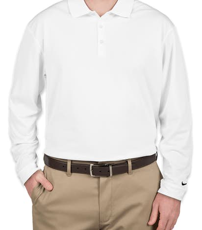 Nike Golf Dri-FIT Tech Long Sleeve Performance Polo - White