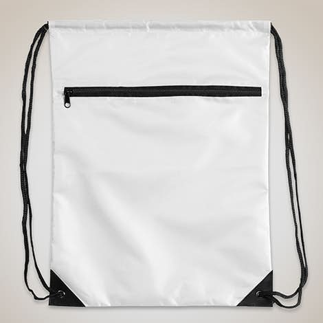 Value Zipper Drawstring Bag - White
