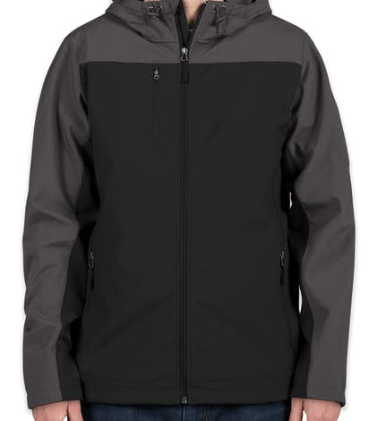Port Authority Contrast Hooded Soft Shell Jacket - Black / Battleship Grey