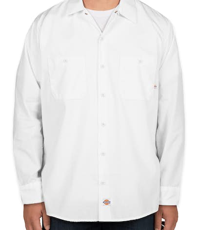 Custom dickies lightweight industrial long sleeve work for Embroidered dickies work shirts