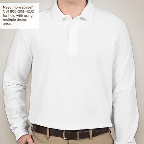 Canada - Gildan Dryblend Double Pique Long Sleeve Polo - White