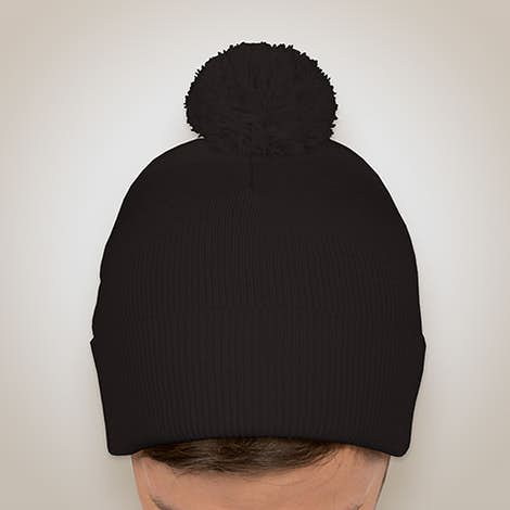 Sportsman Pom Pom Knit Hat - Black