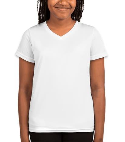 Augusta Youth Girls V-Neck Performance Shirt - White