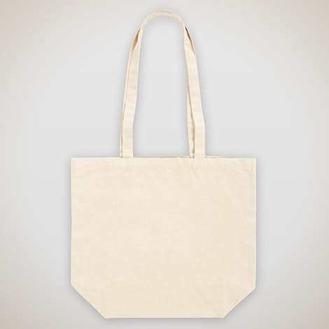 Large Natural Gusseted 100% Cotton Canvas Tote - Natural