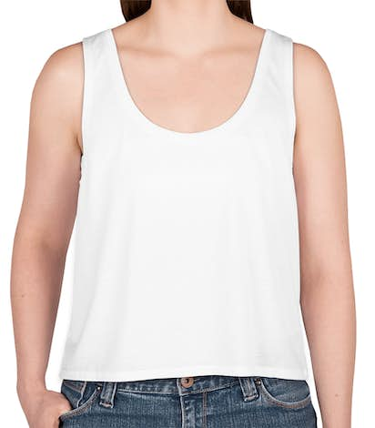 Bella Ladies Flowy Crop Tank - White