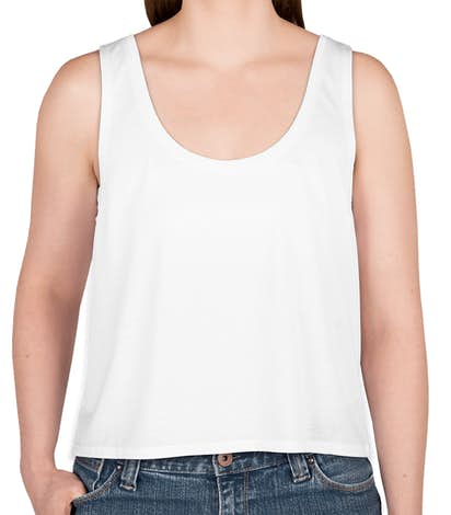 Canada - Bella Ladies Flowy Crop Tank - White